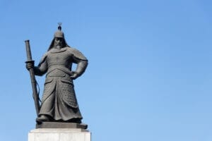 a photo of a statue of Admiral Yi Sun-Sin
