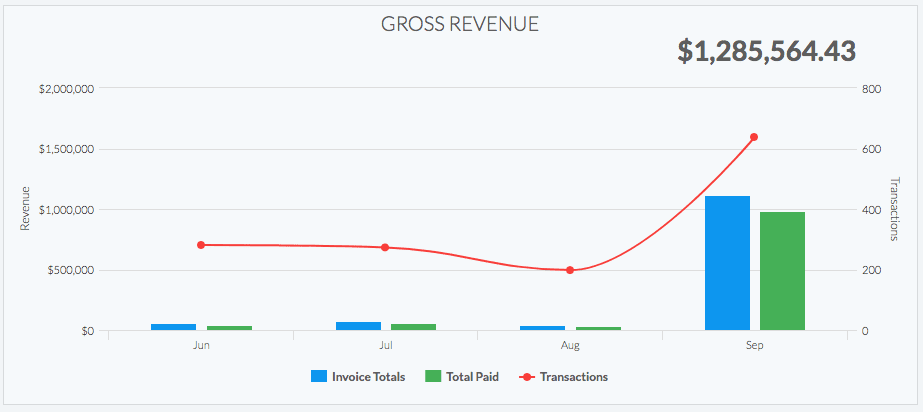 a chart from a case study showing gross revenue growth