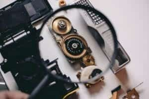 a magnifying close zooming in on camera components