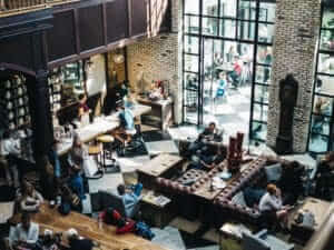 an overhead photo of a bustling coffee shop